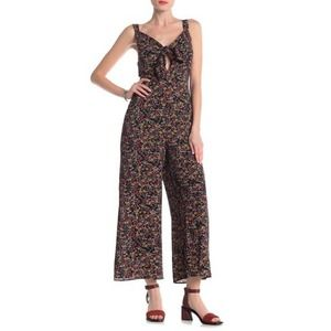 NWT Lush Tie Front Floral Sleeveless Jumpsuit S